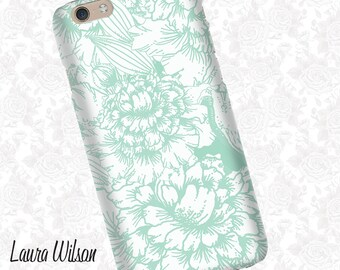 Green Floral print iPhone 6 Case, iPhone 5S Case, iPhone 5 Case, Cell Phone Cover, iPhone 5C Case, iPhone 6 Plus Case, iPhone 6s case