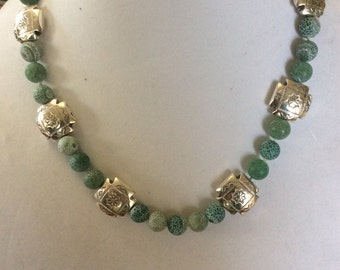 Green Frosted Agate Necklace