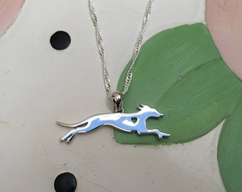 Greyhound with Heart Sterling Silver Necklace and Charm