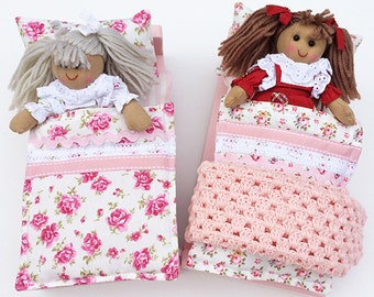 Handmade Wooden Beds with Mini Doll