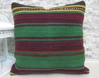 Natural Color Straight Woven Vintage Kilim Pillow 18 x 18 Modern Decorative Turkey Pillow Boho Pillow Turkish Bolster Organic Pillow