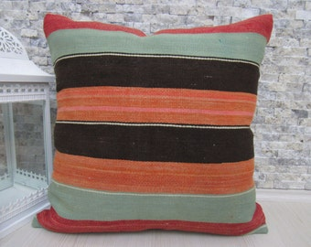 Straight Woven Vintage Kilim Pillow 24 x 24 Turkish Rug Decorative Floor Pillow Kilim Cushion Ethnic Pillow Throw Pillow Colorful Rug Pillow