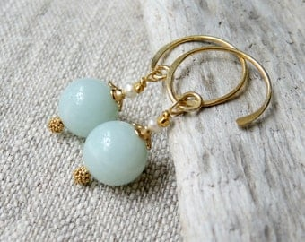 Green Stone Earrings, Amazonite Jewelry, Gold Hoops, Gemstone Dangle Earrings, Gift For Women, Gifts Under 50, Small Gifts, Friend Gifts