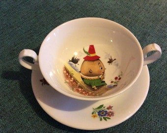 Vintage Humpty Dumpty Childs soup bowl and saucer