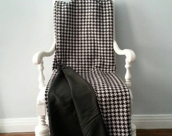Black and White Wool Throw Blanket, Houndstooth Check