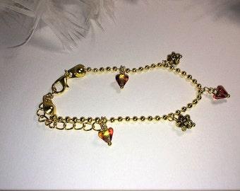 Bracelet gold charm fall color