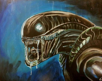 11x17 HR Giger Alien Acrylic Painting
