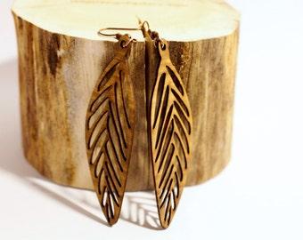 Exotic Wood Veneer Dangle Earrings
