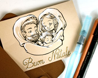 """Card with envelope """"Holy Family""""/""""Saint Family"""" Christmas card and envelope"""