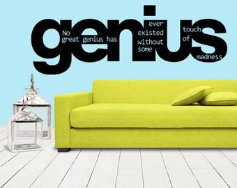 rvz1252 Wall Decal Vinyl Sticker Decals Sign Words Quote Genius