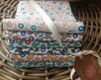 Fabric Bundle 6 Fat Quarters Daisy Dots 100% Cotton Patchwork Quilting Crafts