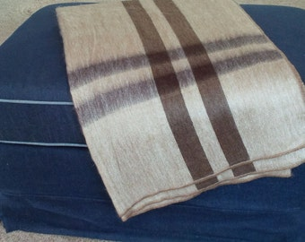 "Alpaca Throw Blanket - Brown ""plaid"""