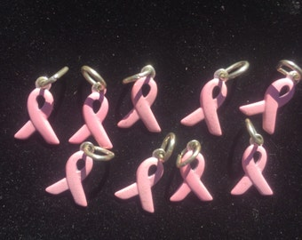 Nine Sterling Silver Breast Cancer Awareness Charms