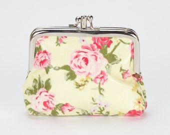 Double Coin Purse- Floral rose- Oilcloth clasp coin wallet- Oil cloth Kissloch purse- Small ladies wallet- laminated cotton travel card