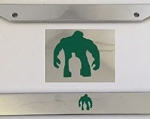 Monster with Boy Inside No Words - Chrome with Green Automobile License Plate Frame