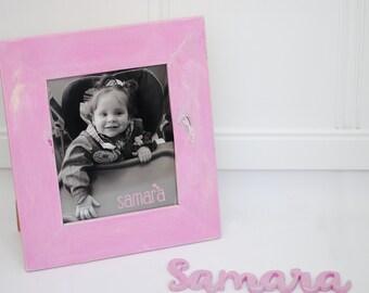 Wood frame pink shabby