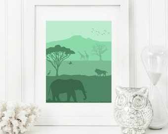Scenic Silhouette African Wall Art -- Green Safari Print -- Nature Printable File -- 8x10 and 11x14 -- Elephant, Lion, Giraffes, and Birds