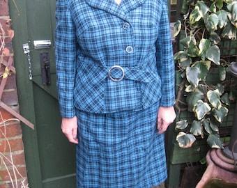 Gorgeous 50s/60s Vintage blue and black check wool tweed suit Windsmoor approx 12-14