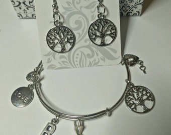 Valentine's Day Set Earrings &  Bangle Bracelet with Heart Charms Initial Personalized
