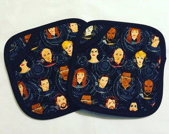 Star Trek TNG Characters Pot Holders - set of two