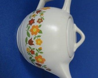 Vintage McCoy Teapot #140, Cream White, Cross Stitch Floral Design