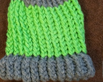 Green and grey newborn loom knitted hat