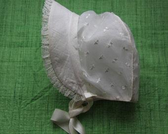 Vintage Baby Bonnet, Size 9M - 18M, Cotton & Chiffon