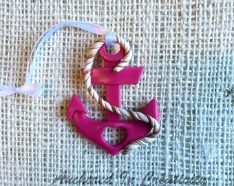 Pink Anchor Ornament, Anchor with Heart Ornament, Christmas Ornament, Holiday Ornament, Nautical Ornament