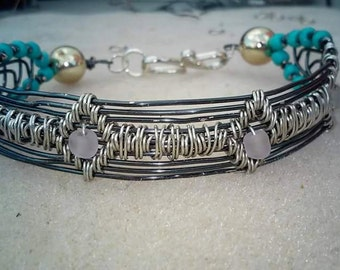 Wire wrapped and beaded bracelet