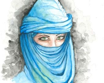 Original Handmade Painting, Portrait of A Veiled Woman - Blue