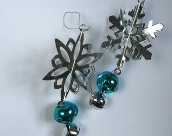 snowflake ornament, bell, silver