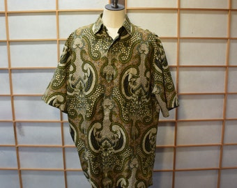 Ethnic Men  Cotton Batik Shirt  Olive Green Size L
