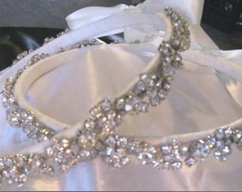 STEFANA Greek Orthodox Wedding Crown Bridal STERLING Silver Plated SWAROVSKI Crystal & Austrian Crystal White or Ivory