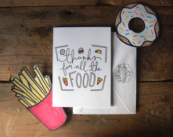 Thanks For All The Food card // Illustrated Blank Card