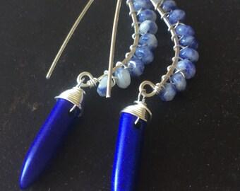 Blue Howlite n Sodelite Sterling Earrings- Handmade, semiprecious,holidays,