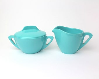 Vintage Prolon Ware Melmac Creamer & Sugar Bowl Set - Turquoise Aqua Blue -  Mid Century Modern Retro Kitchen - Made in Florence, Mass, USA