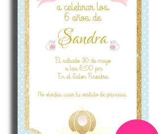 Printable birthday invitation. Cinderella, Cinderella, Princess, printable, digital.
