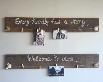 Pallet Wood Boards for Photo Picture Display; Clothespin Hanging for Photos  Pictures
