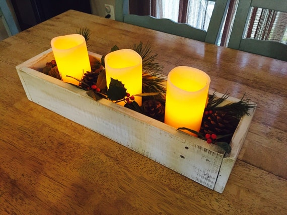 Rustic wooden box table centerpiece small by
