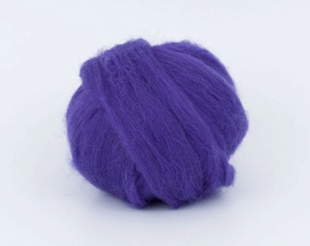 Purple B210, 1.78oz (50gr) 26mic merino tops felting wool, for needle felting, wet felting, spinning.