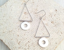 Triangle Dangle Earring,Triangle Earring,Geo Earring,Silver Geo Earring,Silver Triangle Earring,Geo Dangle Earring,Triangle Circle Earring