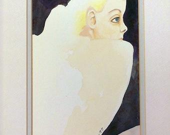 """Original Watercolor """"Blonde""""  9"""" x 12"""" Matted"""