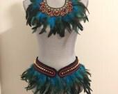 Festival Headdress, Feather Crown, Feather Collar, Indian Feather Headdress, Tribal Headpiece, Native American Headdress,