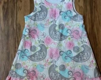 Pink grey bird flourish  A line  jumper dress girl ruffle