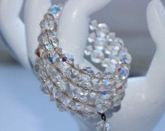 Vintage Crystal Wrap Bracelet AB Memory Wire Wedding