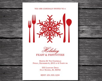 Holiday Dinner Party Invitation-Snowflake