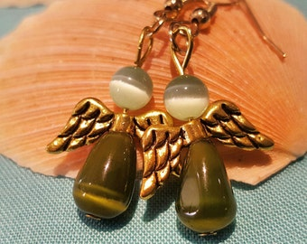 Peridot & olive cats eye angel earrings