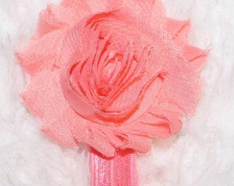 Baby Headband Newborn Shabby Chic Pink Rose