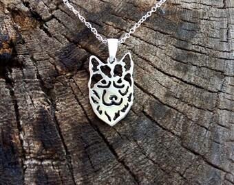 Sterling Silver Siberian Husky Necklace, Husky Necklace, Siberian Husky, Husky Pendant, Silver Husky, Siberian Husky Dog, Dogs Necklaces