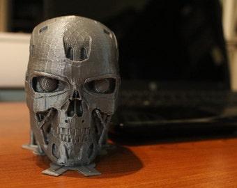 T-800 Terminator Skull, Creepy Halloween Decoration, Birthday Party Decor, Horror movie Mad Scientist, Spooky